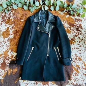 Zara Woman Black Leather / Wool PeaCoat